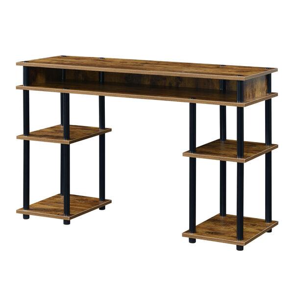 Designs2Go Barnwood Black No Tools Student Desk with Shelves, image 1