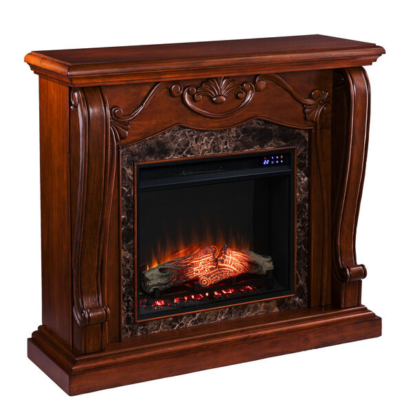 Cardona Walnut Electric Fireplace with Faux Marble, image 5