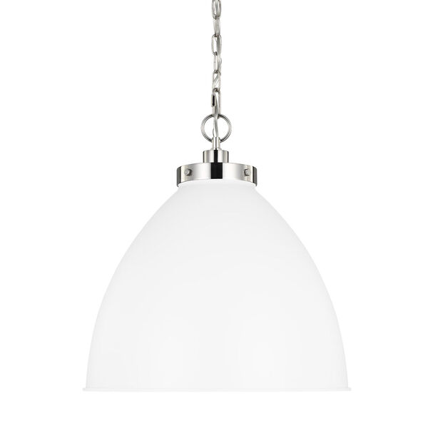 Wellfleet Matte White and Silver 18-Inch One-Light Pendant, image 3