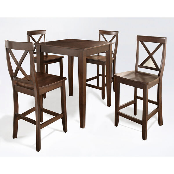 Five Piece Pub Dining Set with Tapered Leg and X-Back Stools in Vintage Mahogany Finish, image 1