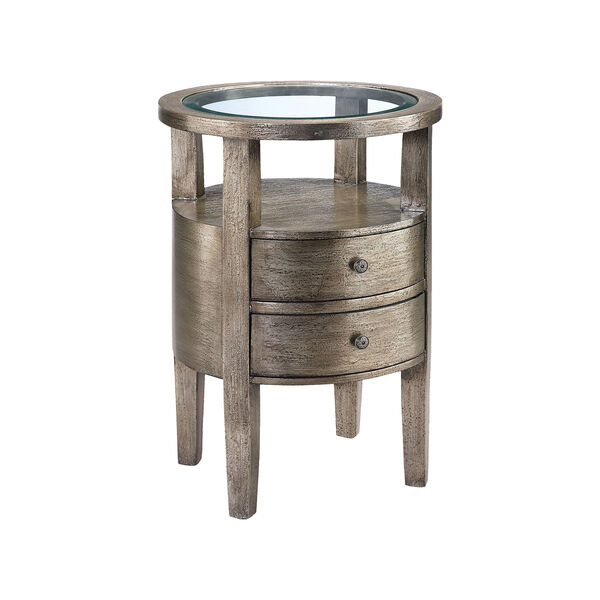 Lucan Hand-Painted Metallic Pewter Accent Table, image 1
