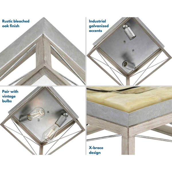 Briarwood Galvanized and Bleached Oak Two-Light Flush Mount Ceiling Light, image 2