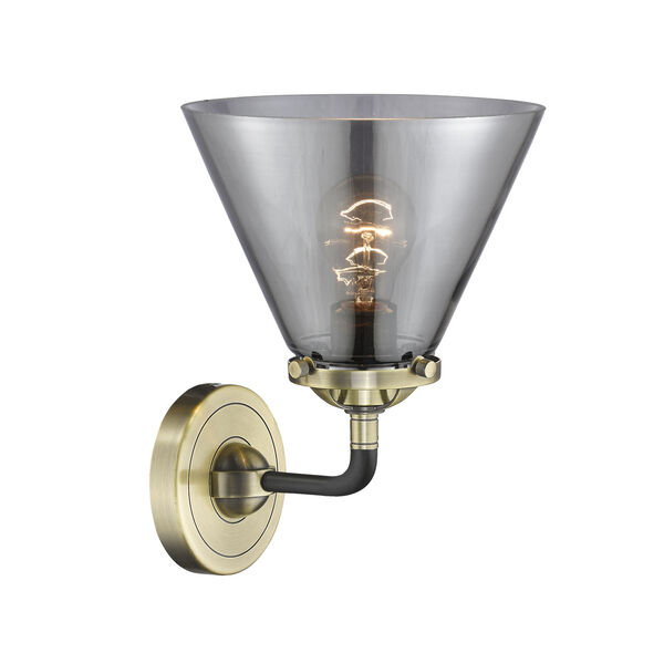 Nouveau Black Antique Brass Eight-Inch One-Light Wall Sconce with Plated Smoke Glass Shade, image 2