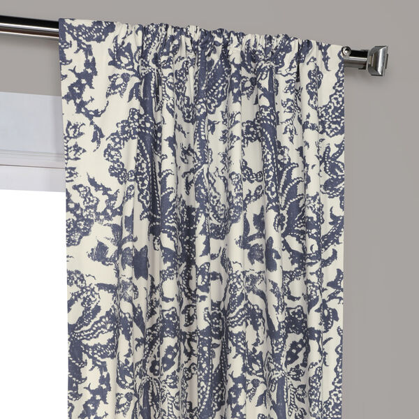 Edina Blue 120 in. x 50 in. Printed Cotton Curtain Panel, image 3
