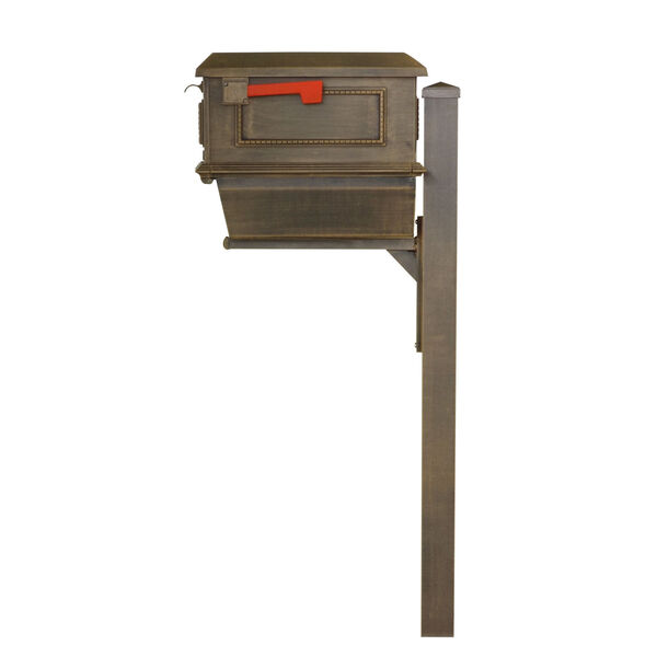 Curbside Copper Mailbox with Newspaper Tube and Wellington Mailbox Post, image 4