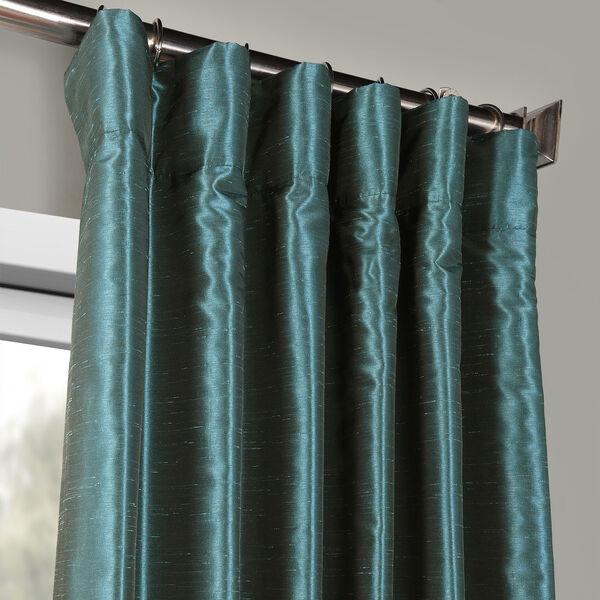 Peacock Vintage Textured Faux Dupioni Silk Single Panel Curtain, 50 X 108, image 2