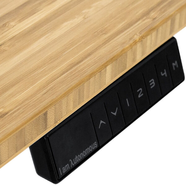 Autonomous White Frame Bamboo Classic Top Adjustable Height Standing Desk, image 2