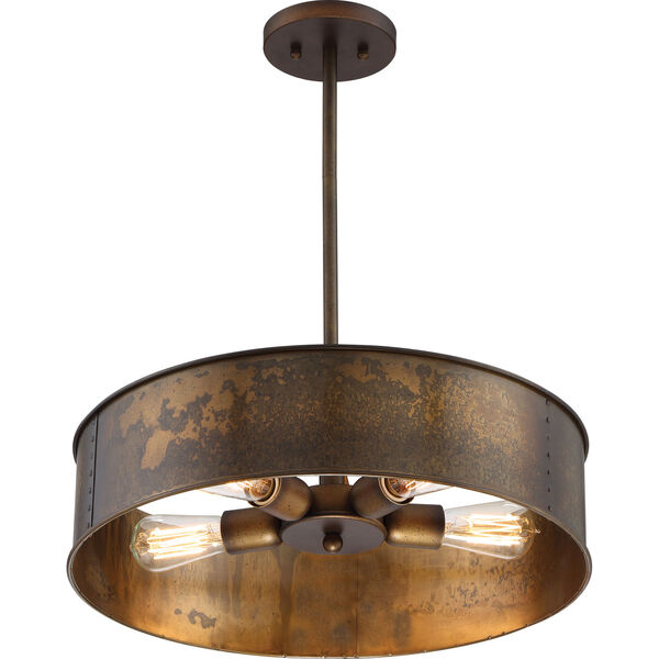 River Station Weathered Brass Four-Light Industrial Drum Pendant, image 1