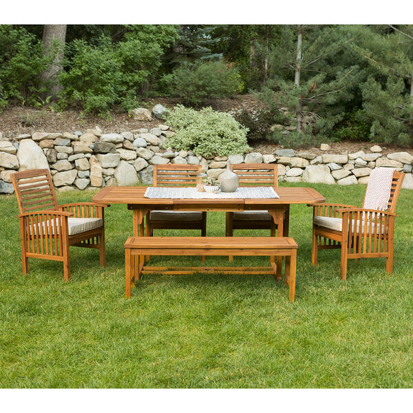 6-Piece Brown Acacia Patio Dining Set with Cushions, image 3