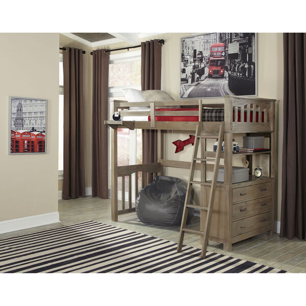 Highlands Driftwood Twin Loft Bed, image 1
