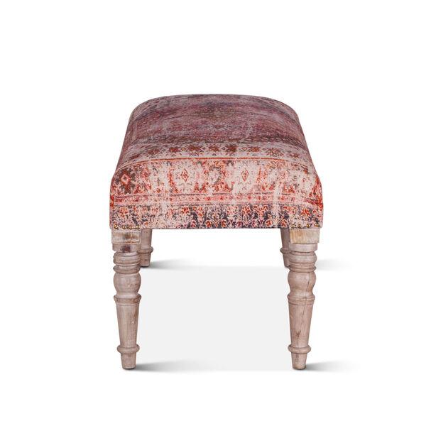 Algiers Tihiri Red and Whitewash Upholstered Bench, image 4
