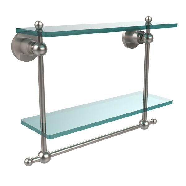 Satin Nickel Double Shelf with Towel Bar, image 1