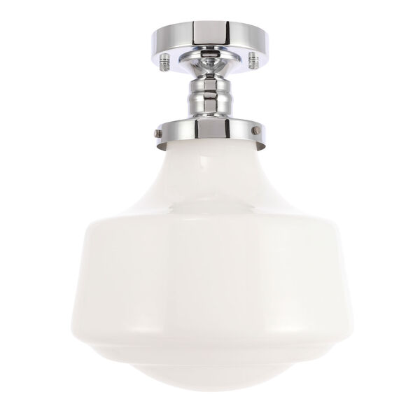 Lyle Chrome 11-Inch One-Light Flush Mount with Frosted White Glass, image 5