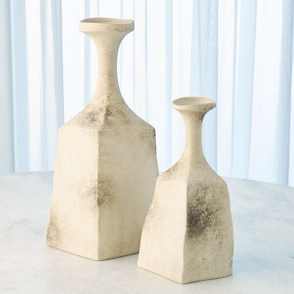 Matte Cream 6-Inch Rhombus Marble Vase, image 4