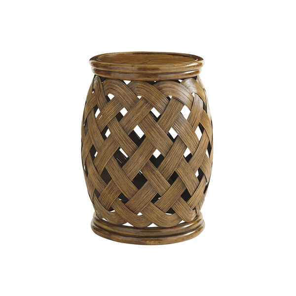 Bali Hai Brown Hibiscus Round Accent Table, image 1