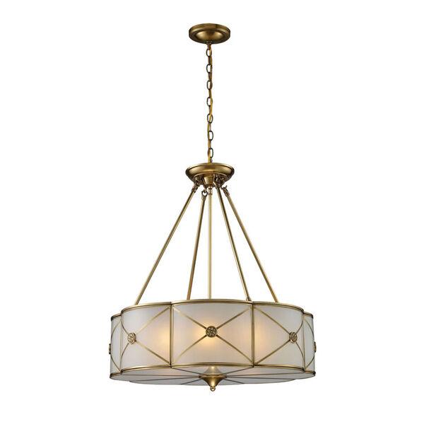 Preston Brushed Brass Six-Light Pendant, image 1