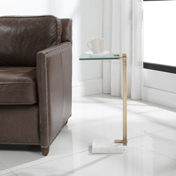 Butler Brushed Brass and White Accent Table, image 2