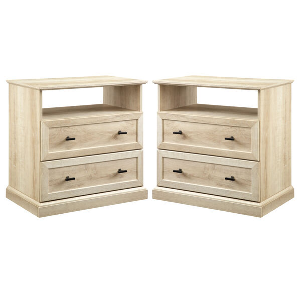 Clyde White Oak Two Drawer Nightstand, Set of Two, image 1