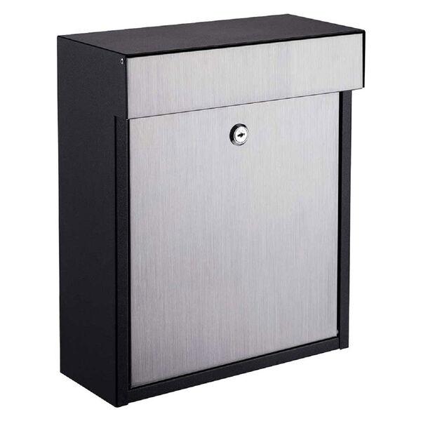 Woodlake Locking Mailbox Black/Stainless Steel, image 1