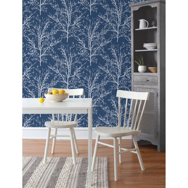 NextWall Blue Tree Branches Peel and Stick Wallpaper, image 1