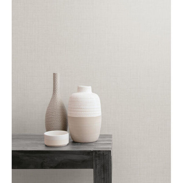 Boho Rhapsody Gray Mist Bermuda Linen Stringcloth Unpasted Wallpaper, image 1
