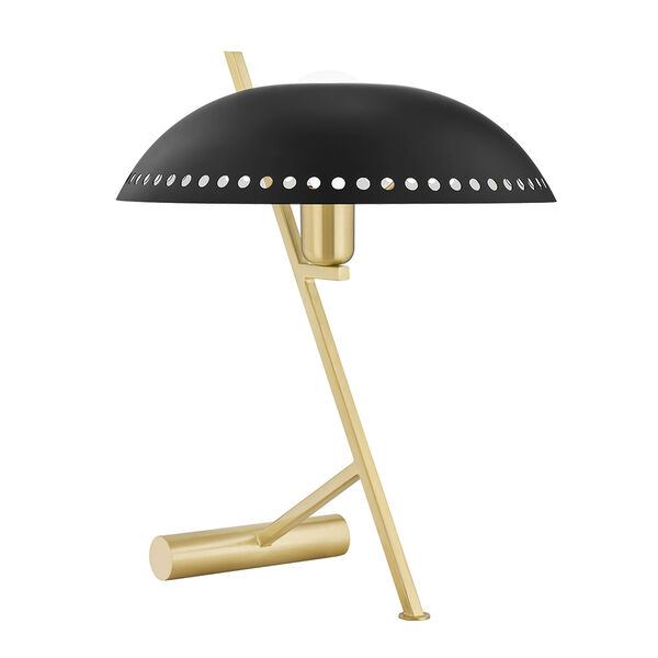Landis Aged Brass and Black One-Light Table Lamp with Plug-In, image 1