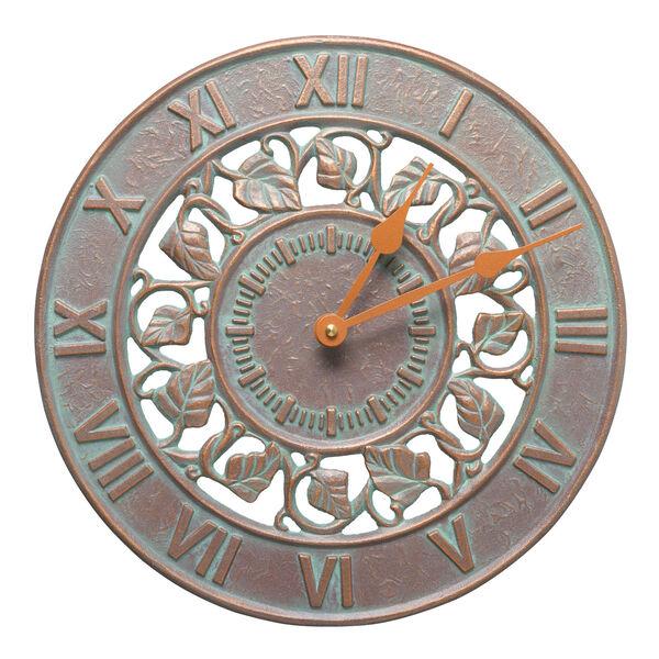 Copper Verdigris Ivy Silhouette 12-Inch  Indoor Outdoor Wall Clock, image 1