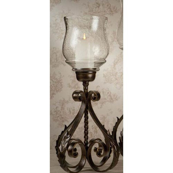 Bronze Iron Acanthus Leaf Hurricane with Hammered Globe - 22 Inches Tall, image 1