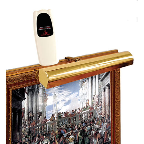Polished Brass Cordless LED Remote Control Picture Light, image 1