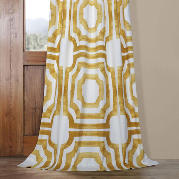 Yellow Gold 84 x 50 In. Printed Cotton Twill Curtain Single Panel, image 5