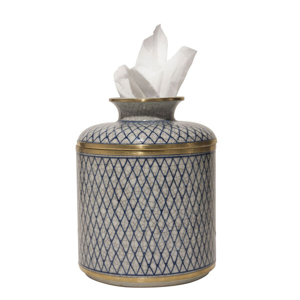 Blue and White Diamond Tissue Box, image 1