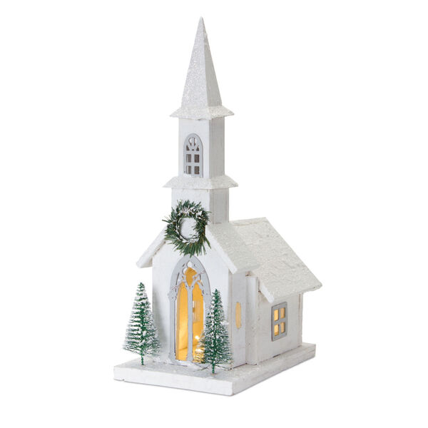White and Green 20-Inch Holiday Church with Light, image 1