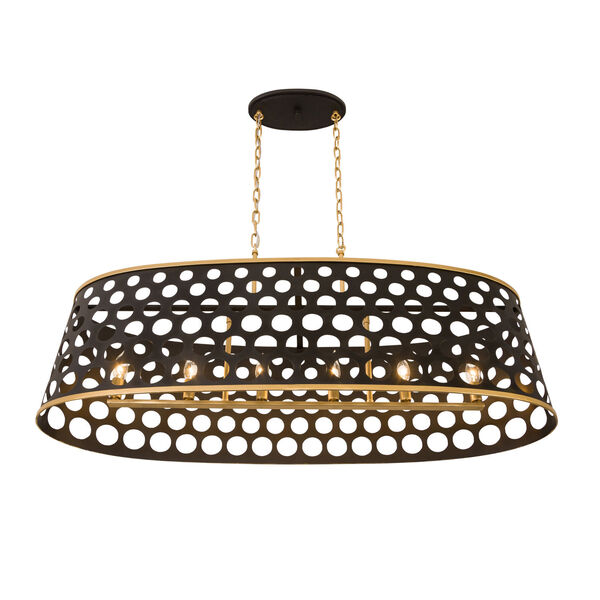 Bailey Matte Black French Gold 44-Inch Six-Light Pendant, image 4