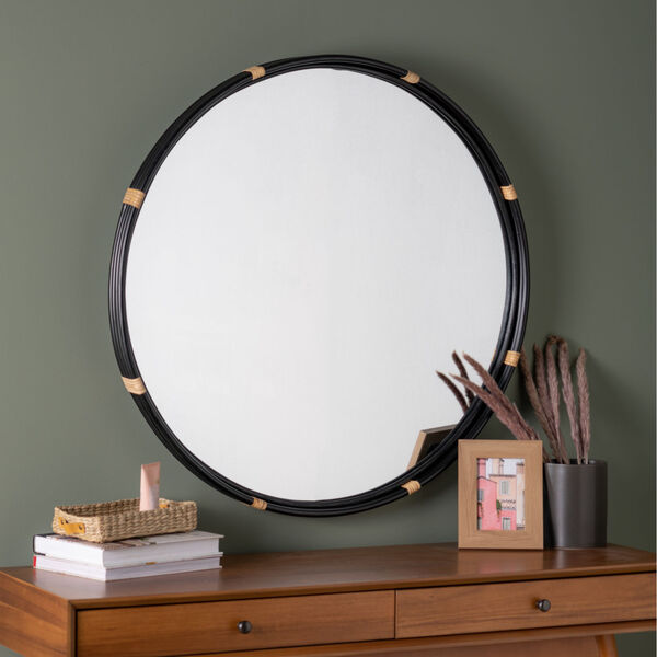 Evan Black and Natural Rattan 35-Inch x 35-Inch Wall Mirror, image 1