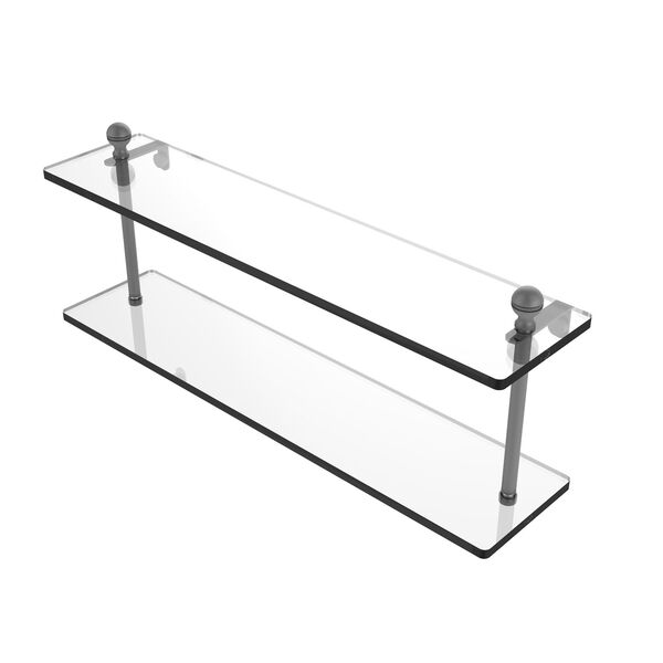 Mambo Matte Gray 22-Inch Two Tiered Glass Shelf, image 1