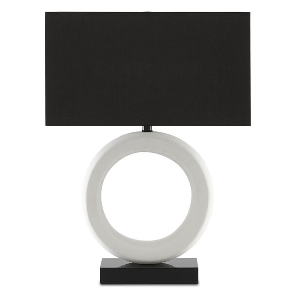 Kirkos Gesso White and Glossy Black One-Light Table Lamp, image 2