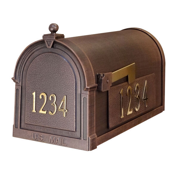 Personalized Berkshire Mailbox in Copper with Brass Front and Side Numbers, image 1