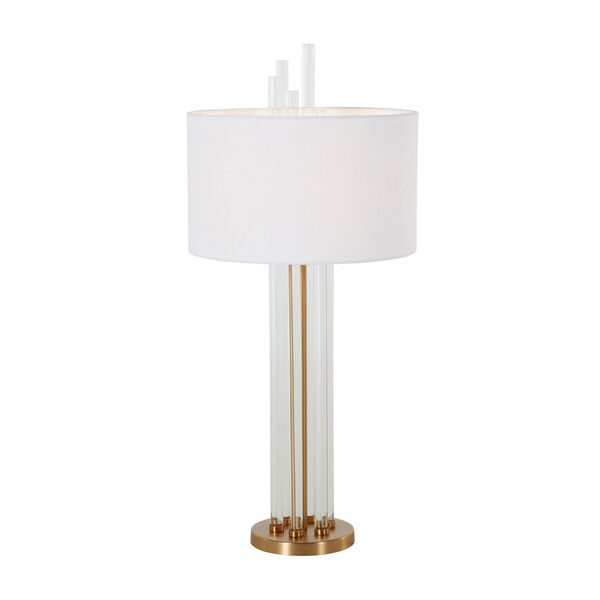 Merna Antique Brass and White One-Light Table Lamp, image 2