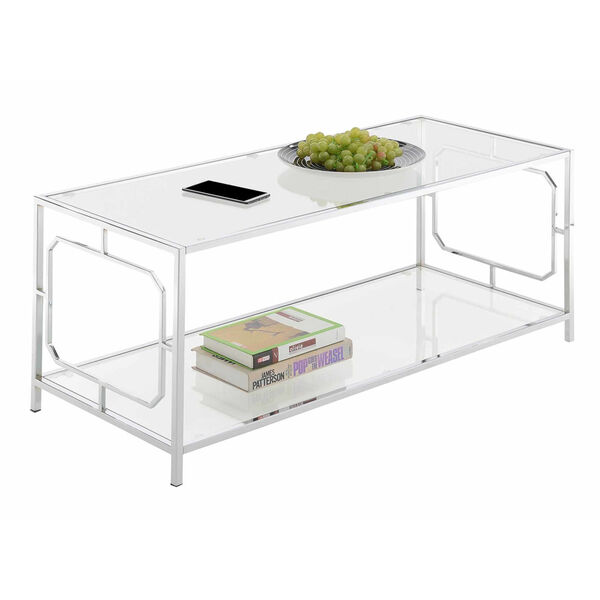 Omega Chrome Coffee Table with Clear Glass, image 2
