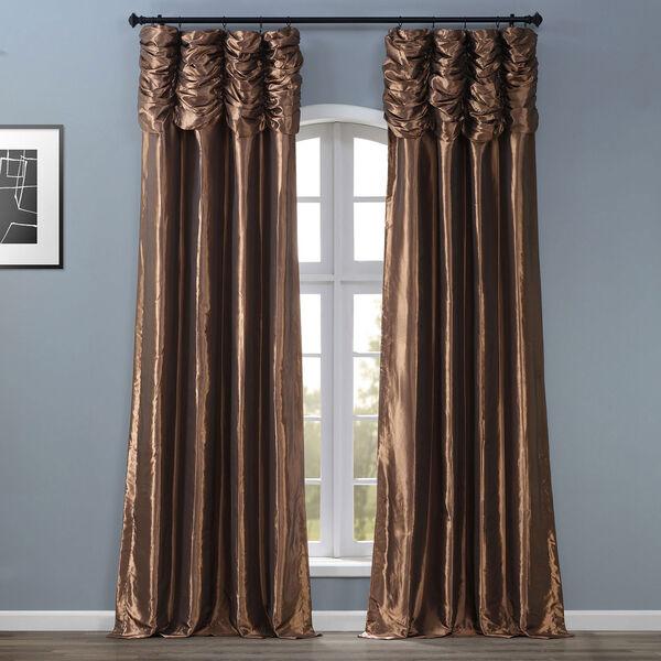 Ruched Mushroom 84 x 50-Inch Faux Silk Taffeta Curtain Single Panel, image 1