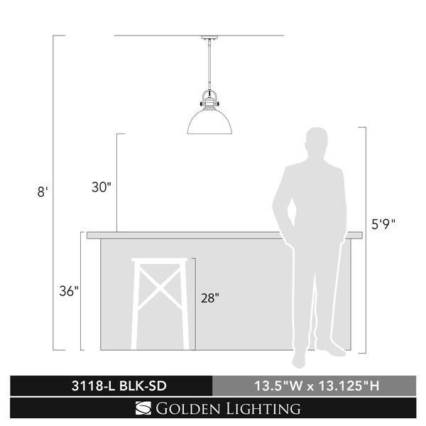 Hines Black 14-Inch One-Light Pendant with Seeded Glass, image 4