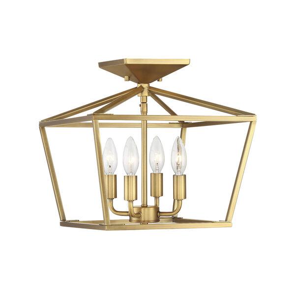 Townsend Warm Brass Four-Light Semi-Flush, image 4