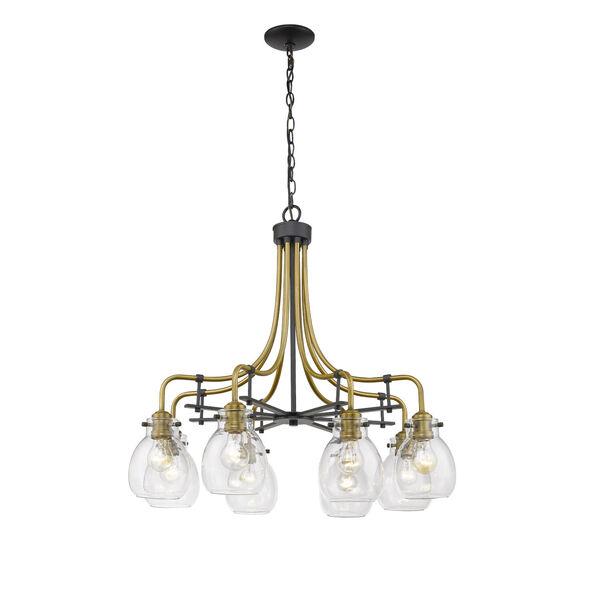 Kraken Matte Black and Olde Brass Eight-Light Chandelier With Transparent Glass, image 3