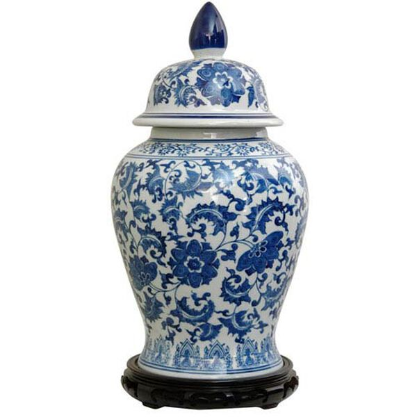 18 Inch Porcelain Temple Jar Blue and White Floral, Width - 10 Inches, image 1