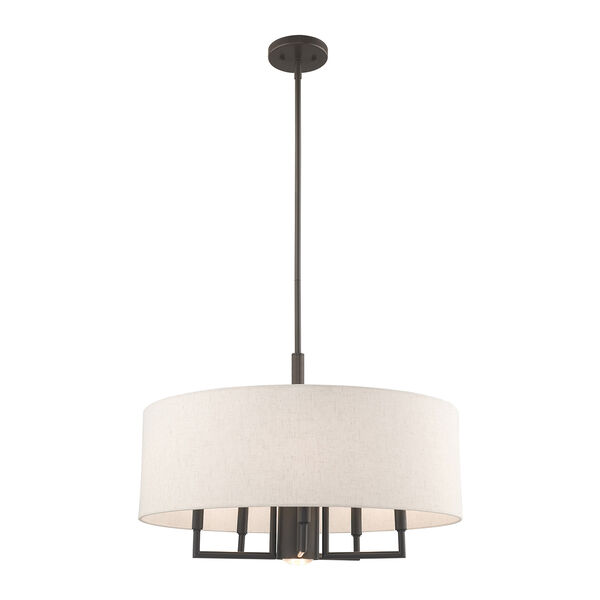 Meridian English Bronze 24-Inch Six-Light Pendant Chandelier with Hand Crafted Oatmeal Hardback Shade, image 3