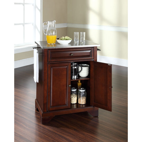 LaFayette Stainless Steel Top Portable Kitchen Island in Vintage Mahogany Finish, image 4