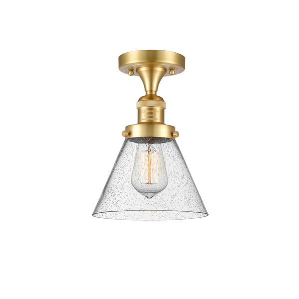 Franklin Restoration Satin Gold 12-Inch LED Semi-Flush Mount with Seedy Large Cone Shade, image 1