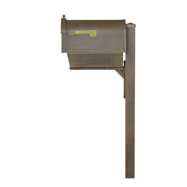 Berkshire Curbside Copper Mailbox with Newspaper Tube and Wellington Mailbox Post, image 3
