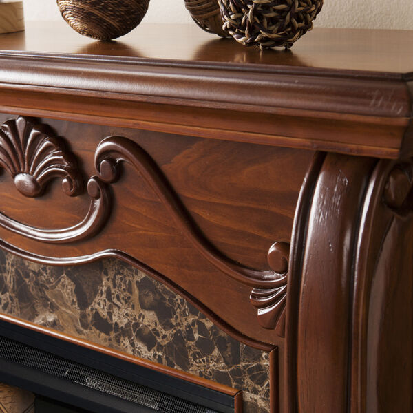 Cardona Walnut Electric Fireplace with Faux Marble, image 4