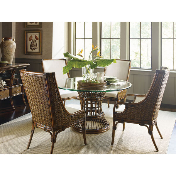 Bali Hai Brown Latitude Dining Table with 54 In. Glass Top, image 2